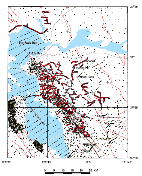 Index map showing station locations as red circles, older observations as smaller black dots
