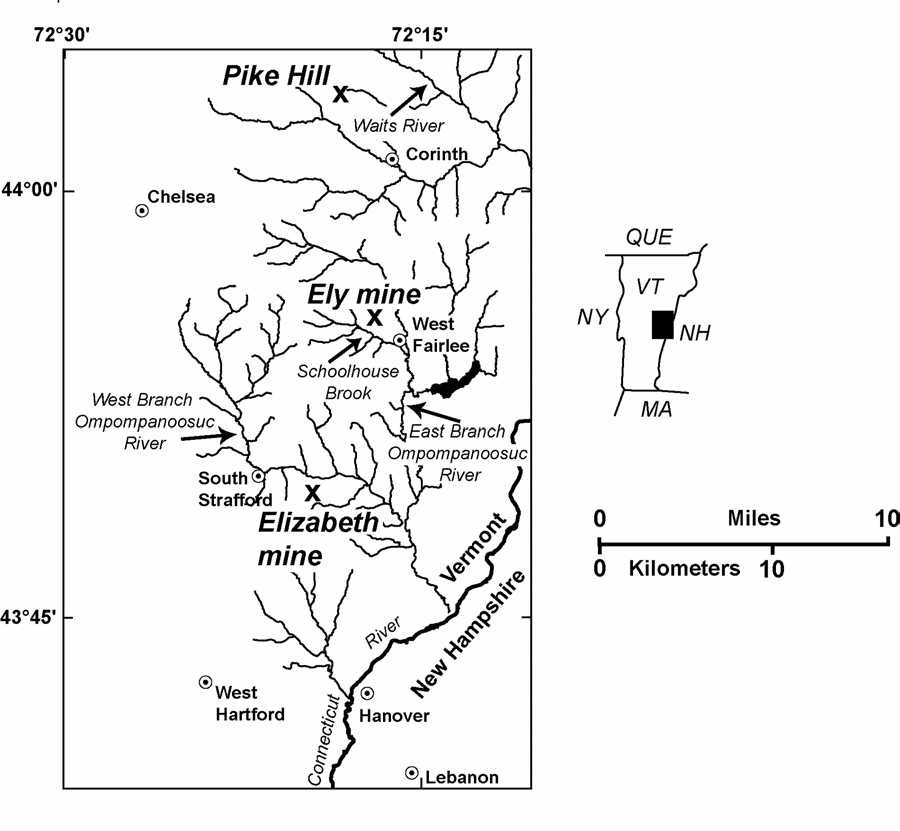 Location map showing mines in the area near the Ely mine