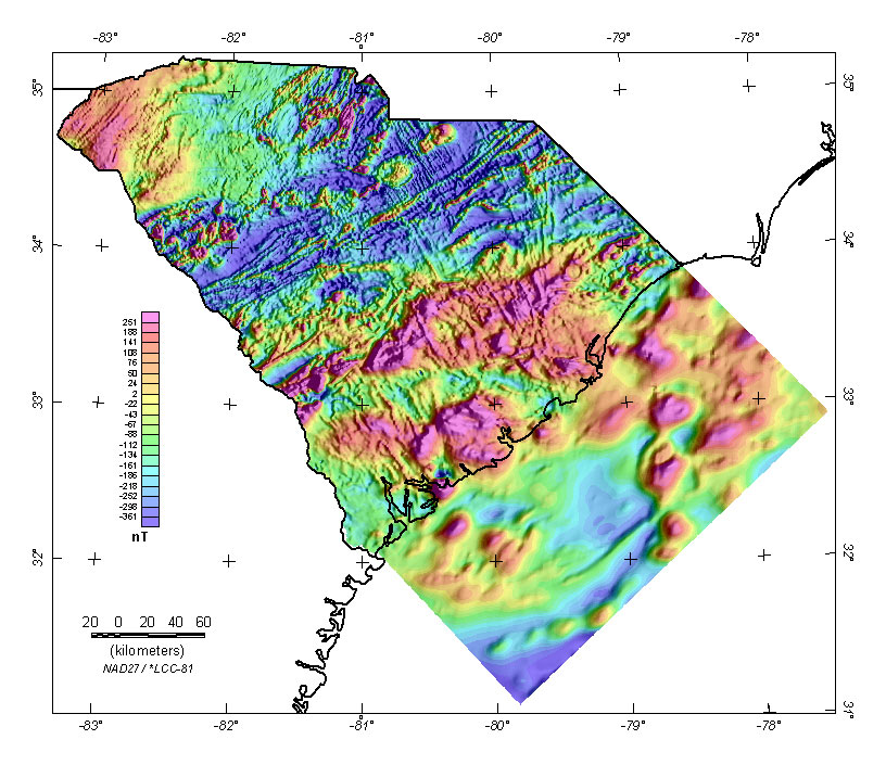 Composite aeromagnetic anomaly map of South Carolina land and offshore areas at a simulated flight altitude of 1000 feet above ground or ocean (East illumination).