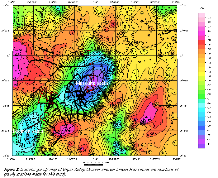 Isostatic gravity map of Virgin Valley, showing measurement locations.
