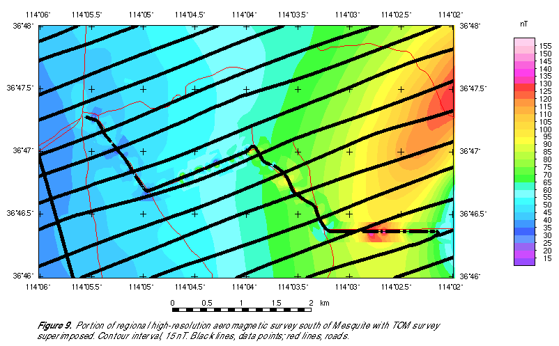Portion of regional high-resolution aeromagnetic survey south of Mesquite with TOM survey superimposed, showing measurement locations.