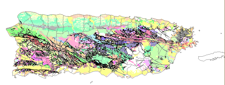 Reduced-size image of the geologic units and faults