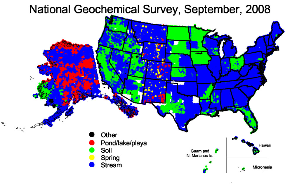 At Present 89 Of The Land Area Of The Us Has Sample Coverage 68 Of The Yzed Samples Are Stream Sediments And The Majority Of The Rest Are Soils