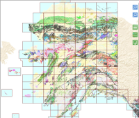 Geologic map of Alaska with quadrangle boundaries